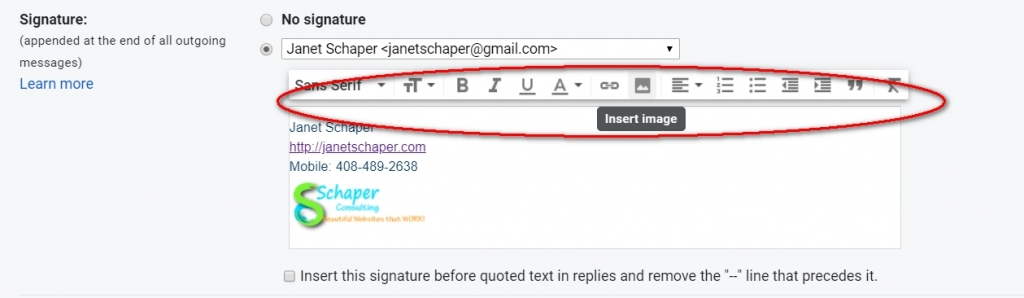 building a Signature in Gmail